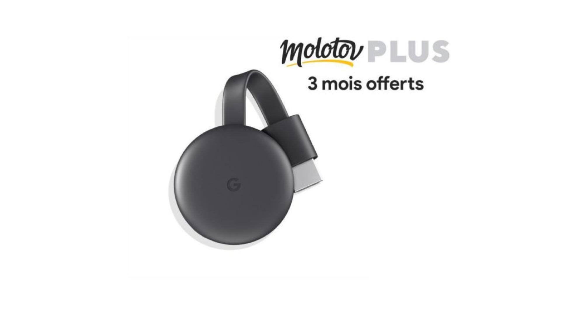 🔥 Bon plan : le Chromecast 3 à 34 euros avec 3 mois offerts à Molotov TV Plus