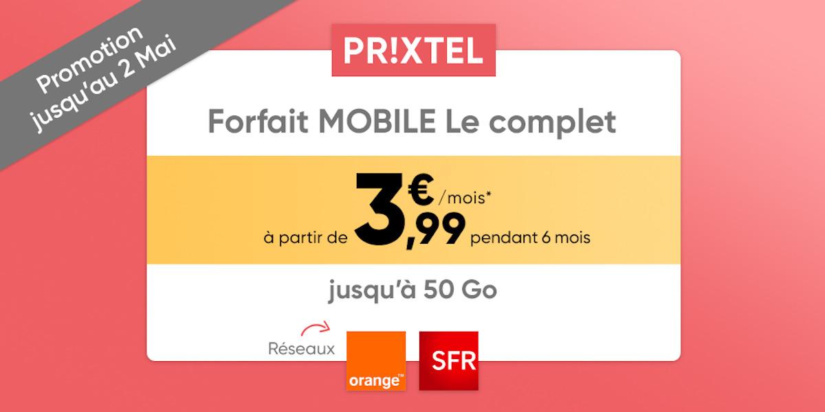 Prixtel : un forfait mobile jusqu'à 50 Go de données à partir de 3,99 euros/mois