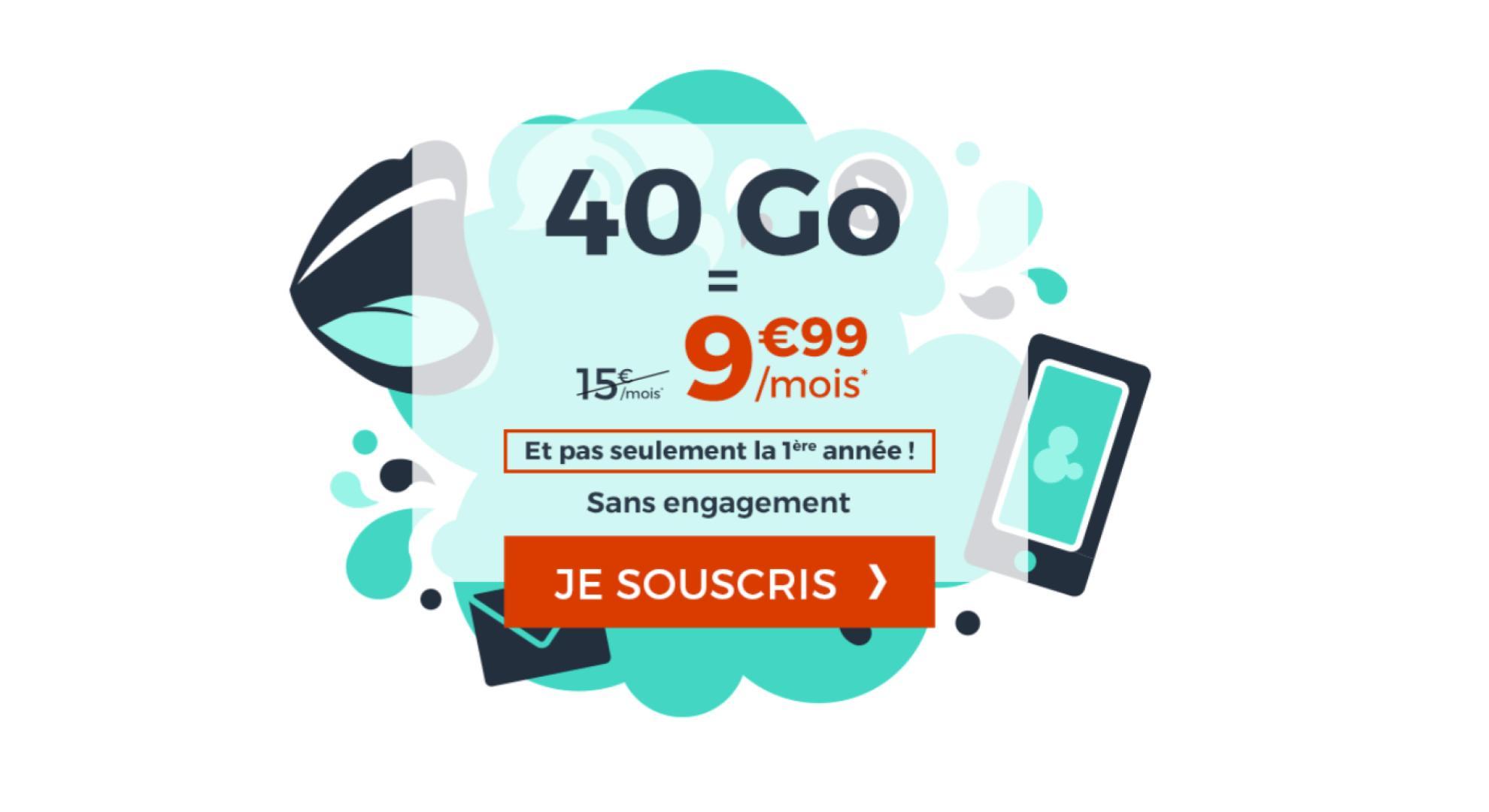 🔥 Bon plan : un forfait mobile 40 Go à 9,99 euros par mois à vie (et sans engagement)
