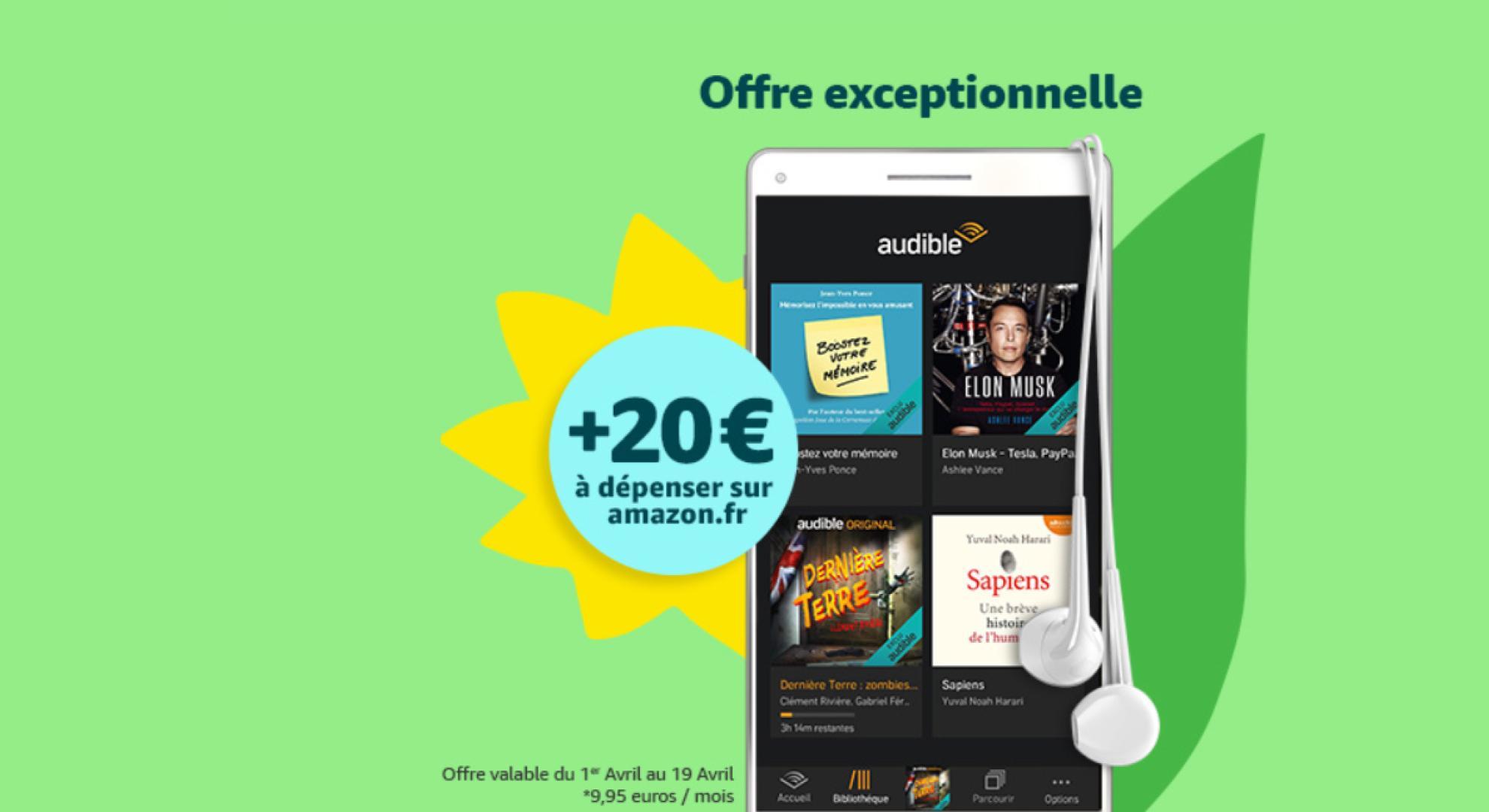 🔥 Bon plan : 20 euros offerts sur Amazon pour toute souscription à Audible (sans engagement)