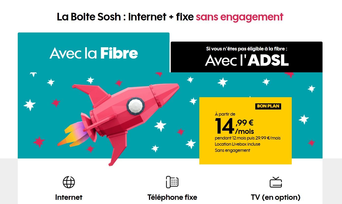 🔥 Bon plan : la boîte Sosh (Fibre/ADSL) revient à 14,99 euros par mois pendant un an