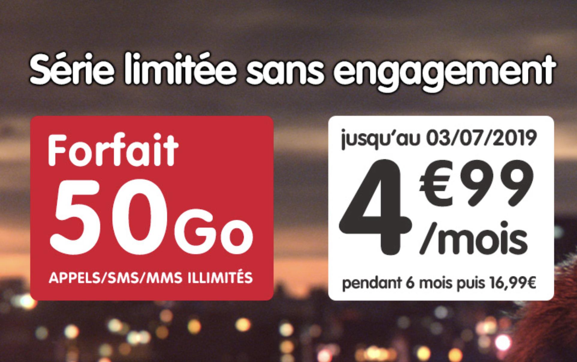🔥 Bon plan : NRJ mobile relance le forfait 50 Go à 4,99 euros pendant 6 mois