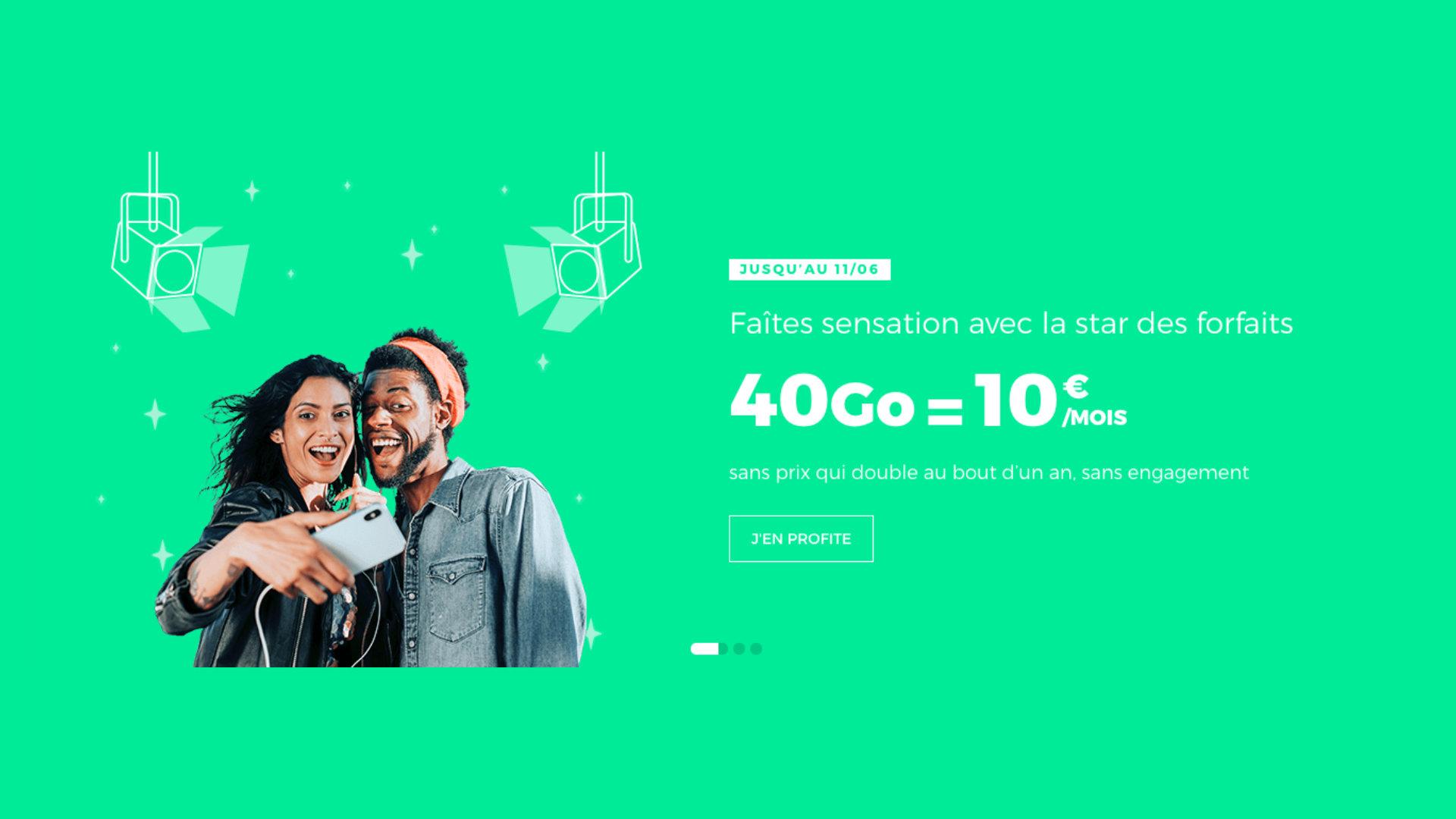 Prolongation : 40 Go avec un forfait mobile sans engagement à 10 euros