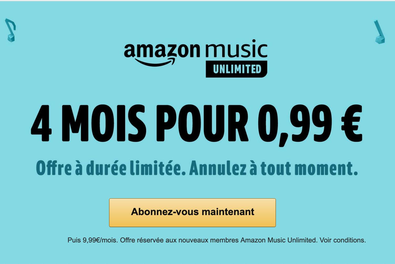 🔥 Dernier jour : 4 mois d'abonnement Amazon Music Unlimited pour 1 euro