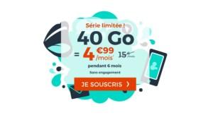 Forfait mobile : 40 Go via une offre sans engagement à 4,99 euros par mois