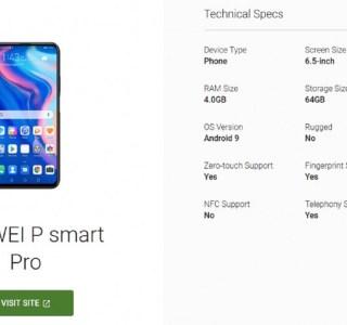 Huawei P Smart Pro : un smartphone sans encoche dévoilé par Google
