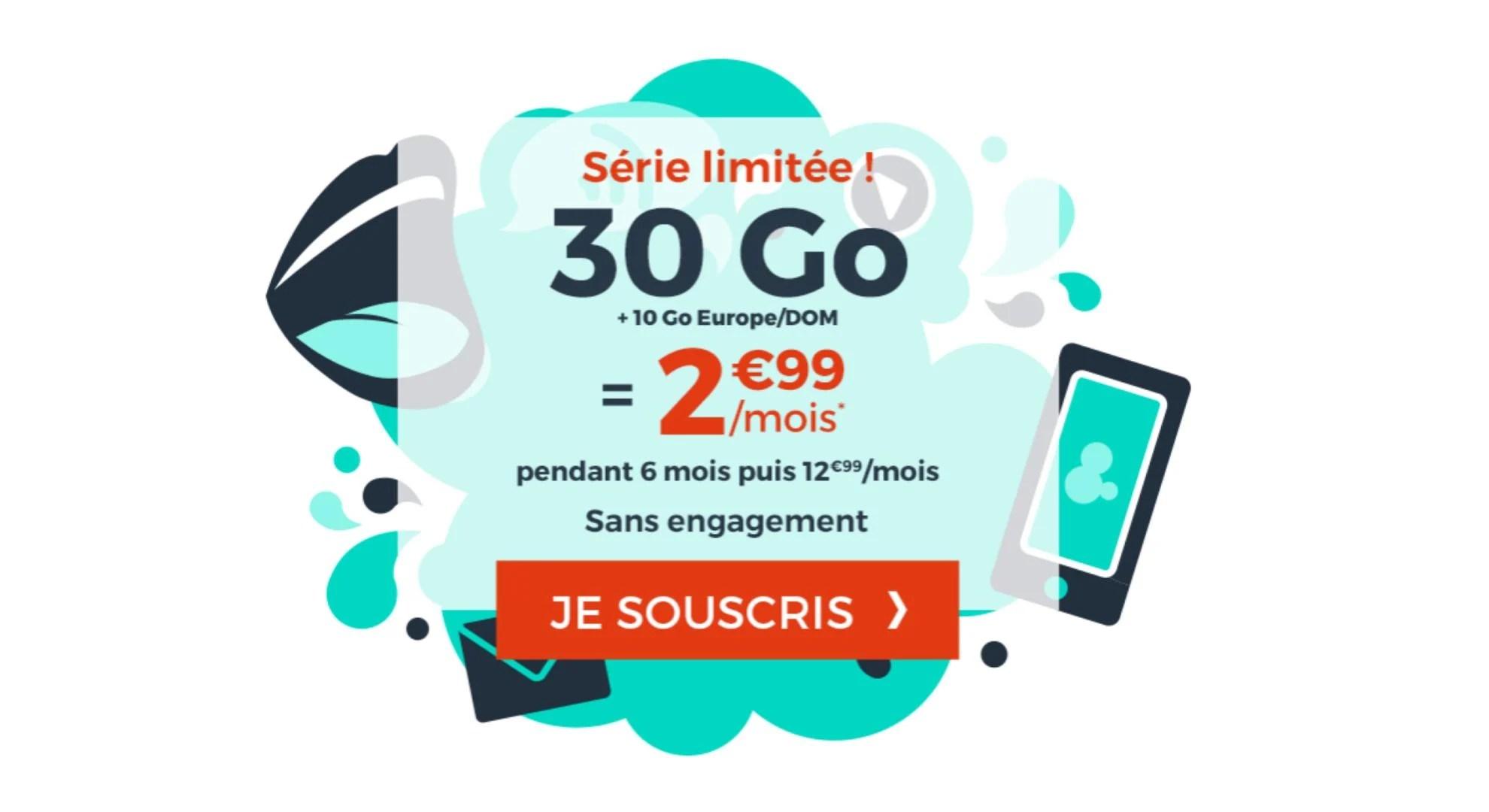 30Go en France + 10 Go en Europe/DOM à 2,99€ par mois avec ce forfait mobile