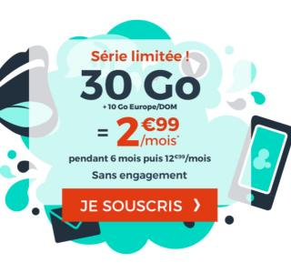 Dernier jour pour le forfait à 2,99€ par mois avec 30Go en France + 10Go en Europe