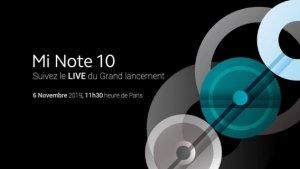 Xiaomi Mi Note 10 : lancement et prix en France dévoilés le 6 novembre