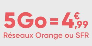 Voici un forfait mobile jusqu'à 50 Go à partir de 4,99 euros sur les réseaux Orange ou SFR