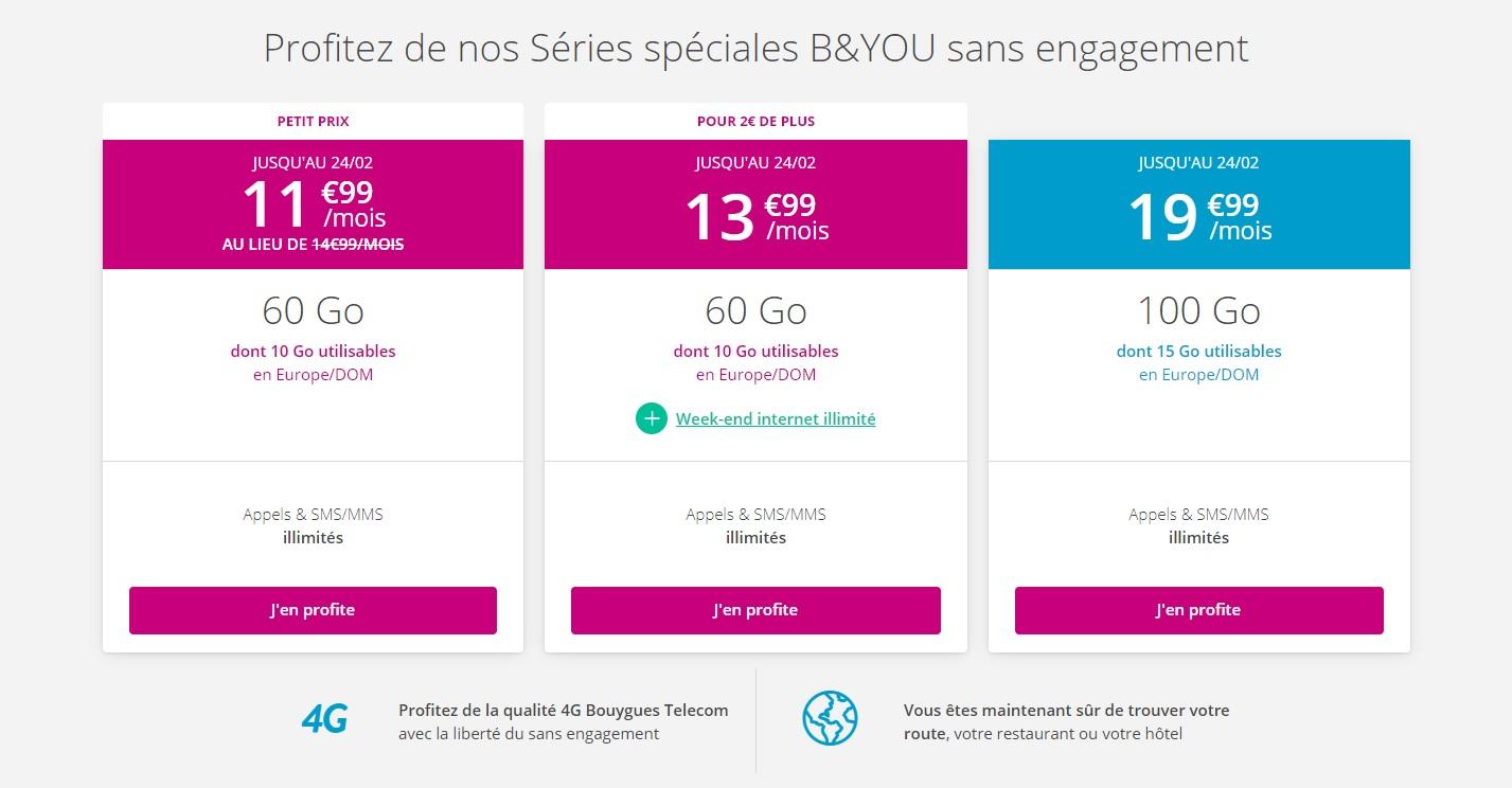 Forfait mobile : Bouygues Telecom renouvelle ses offres B&You sans engagement pour février