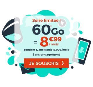 Dernier jour pour le forfait mobile 60Go moins cher que chez RED et B&You