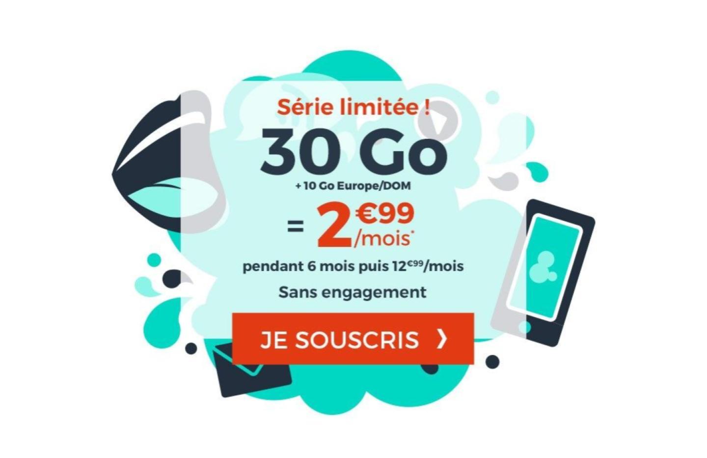 Forfait mobile: 30Go de 4G pour seulement 2,99euros par mois, sans engagement