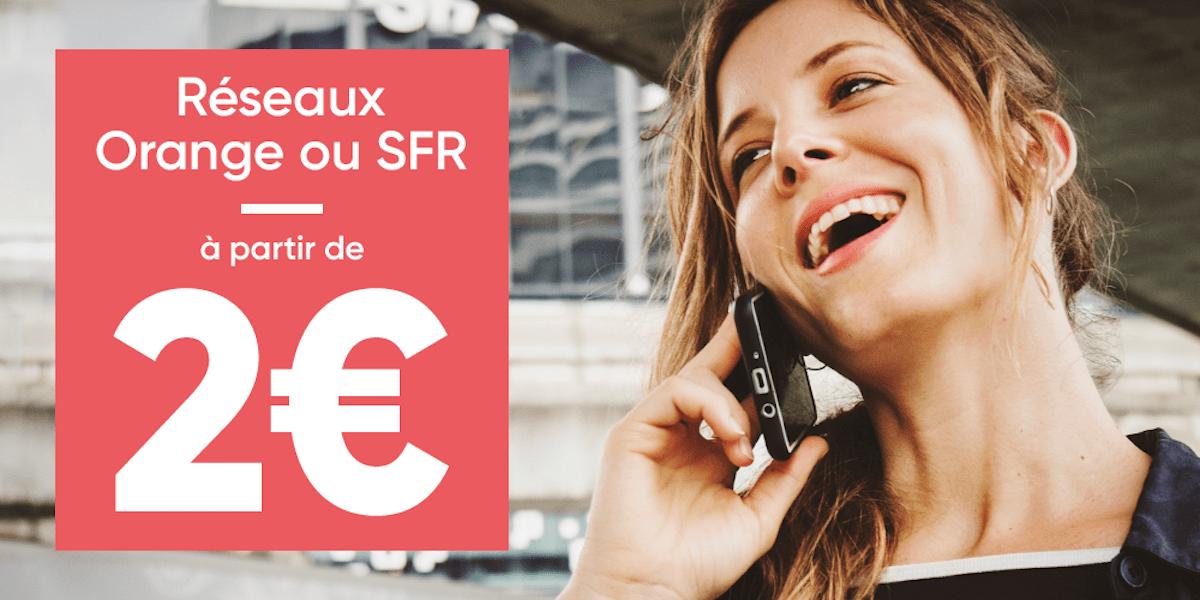 Découvrez des forfait mobiles dès 2 euros/mois sur les réseaux Orange ou SFR