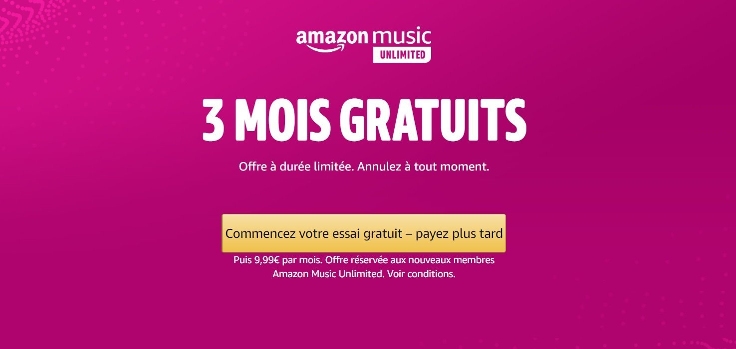Amazon Music Unlimited est disponible gratuitement pendant 3 mois