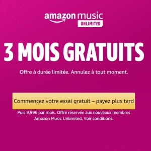 Amazon Music Unlimited : le service de streaming musical est gratuit pendant 3 mois