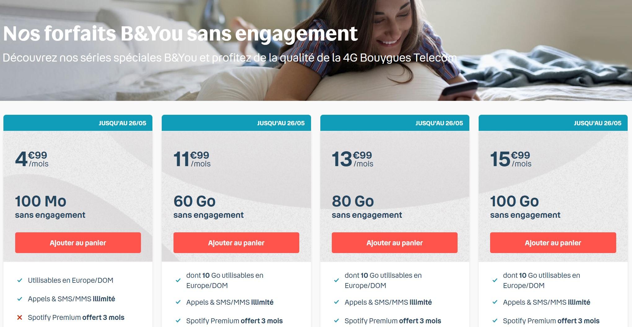 Bouygues remet en place ses forfaits mobile B&You à partir de 4,99 €/mois