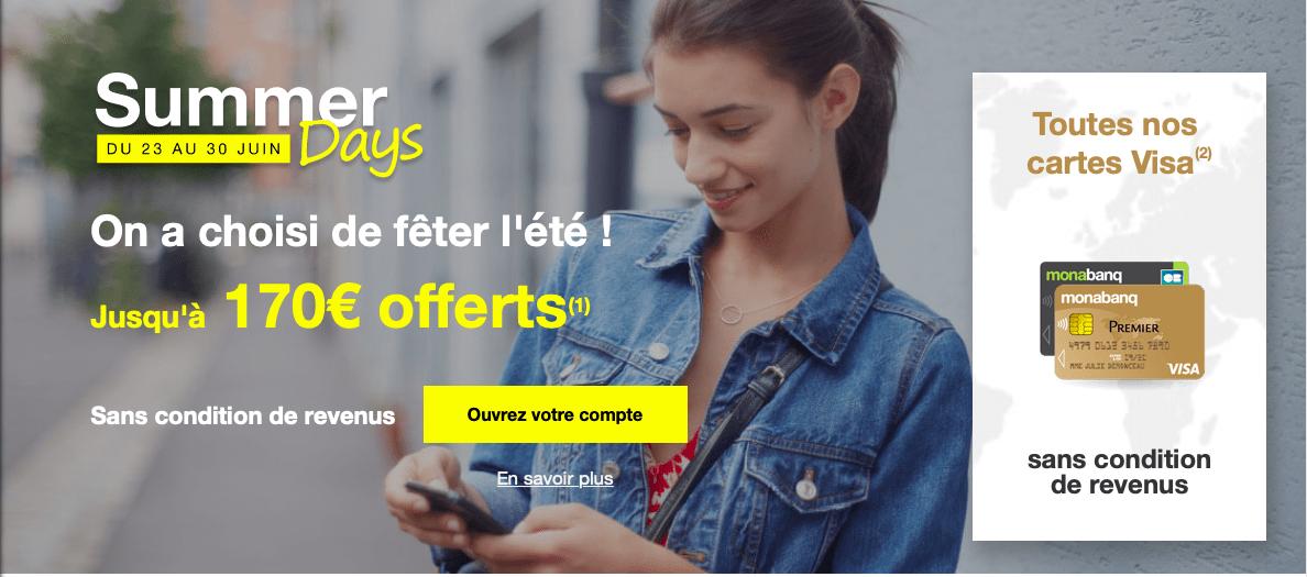 Monabanq vous offre jusqu'à 170 euros pour l'ouverture d'un compte chez eux
