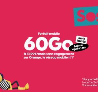Sosh dégaine un nouveau forfait mobile 60 Go en plus de son offre 100 Go
