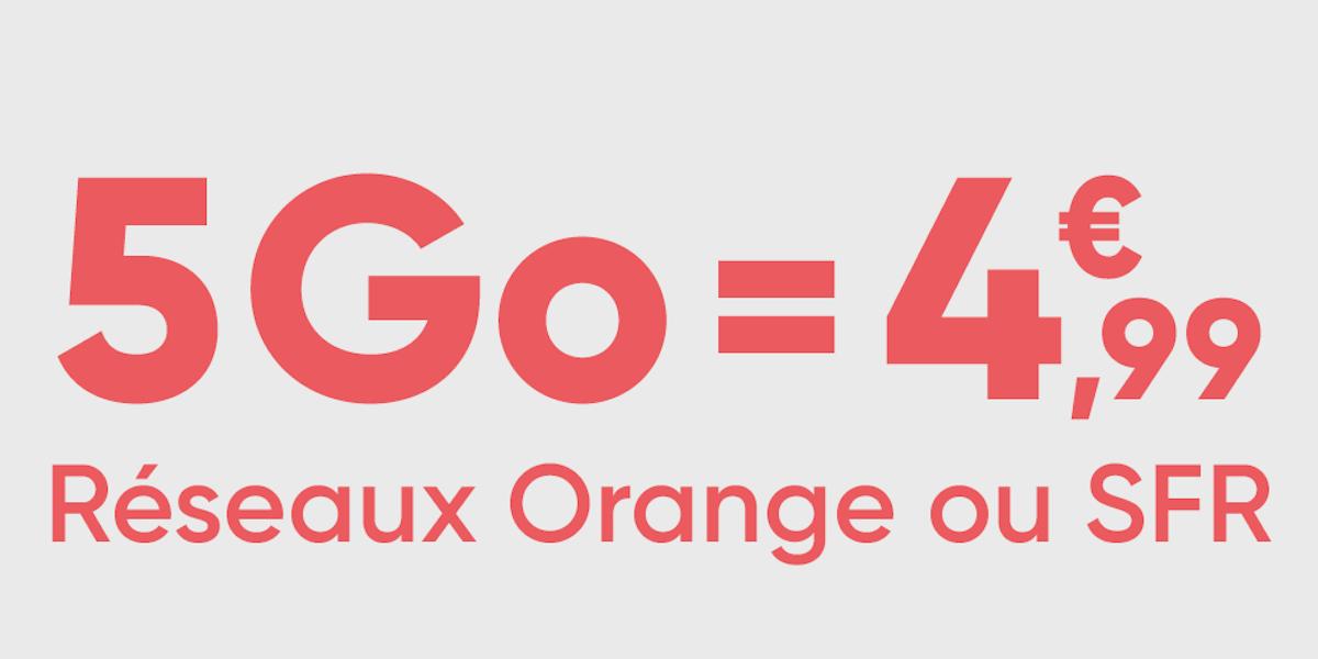 Pour 4,99 euros seulement, ce forfait mobile 5 Go utilise les réseaux Orange ou SFR