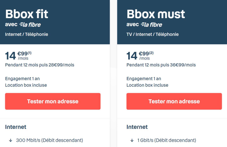 La Bbox must Fibre (1Gb/s) chute au même prix que la Bbox fit (300 Mb/s)