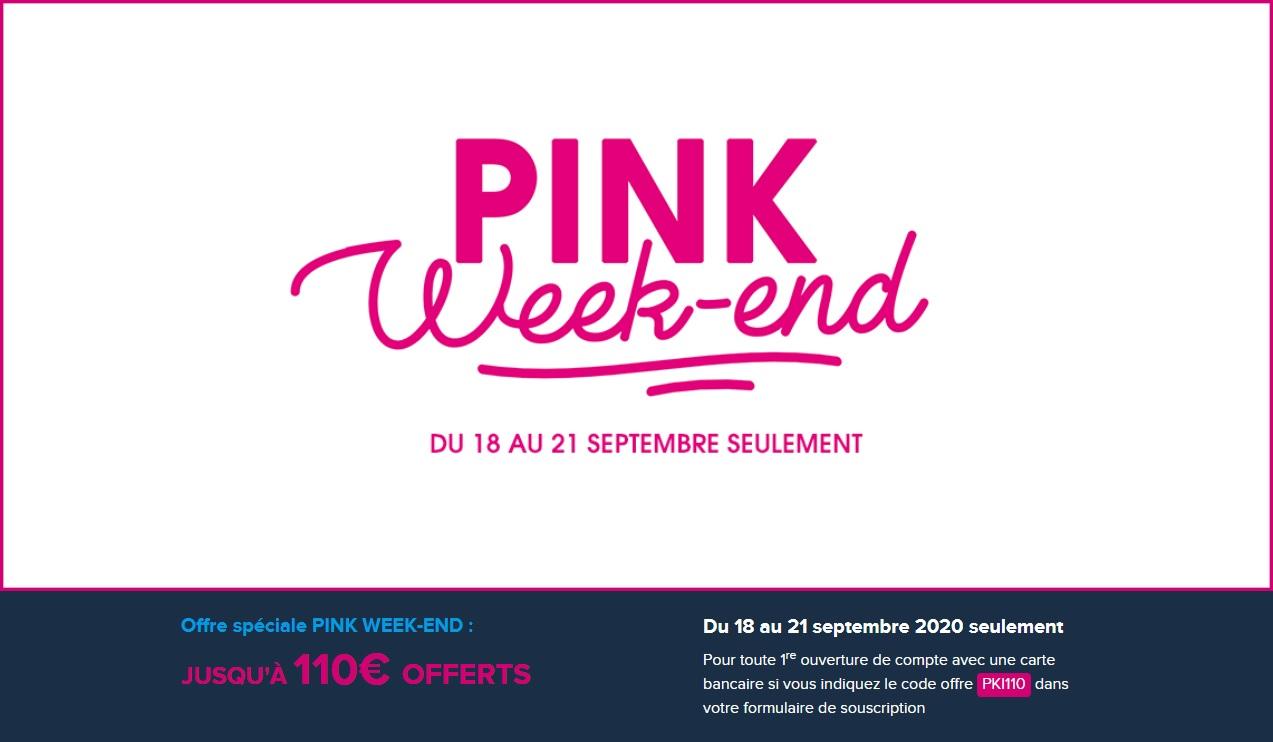 Pink Week-End : 110 € offerts pour l'ouverture d'un compte chez Boursorama Banque