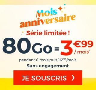 Ce forfait mobile en série limitée inclut 80Go de 4G pour 3,99€/mois
