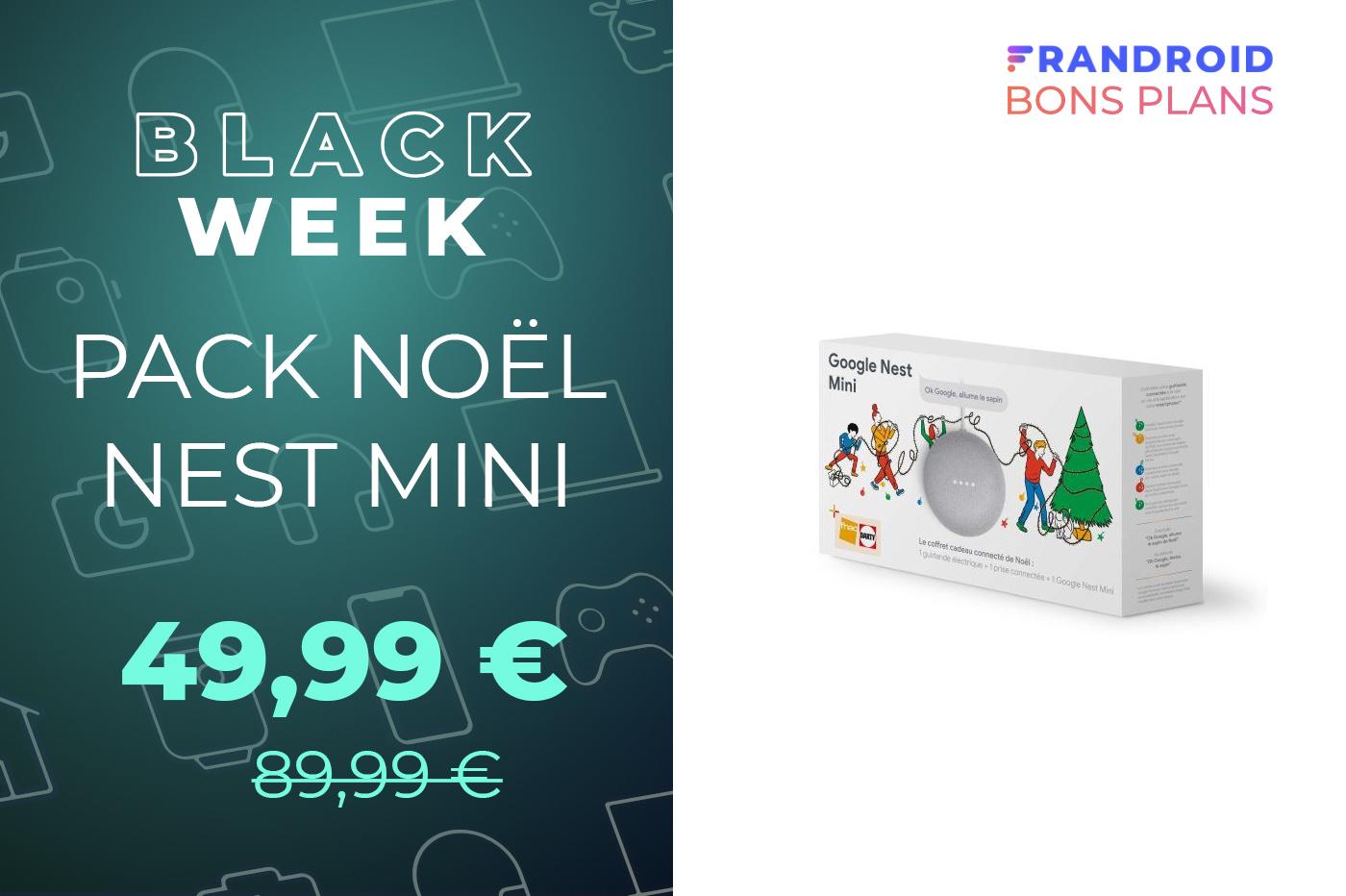 Pack Noël : le Nest Mini avec une guirlande et une prise connectée à -45 %