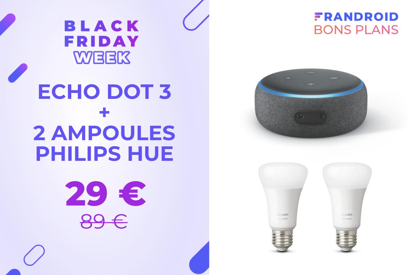 Ce pack Echo Dot + Philips Hue est à seulement 29 € pour le Black Friday