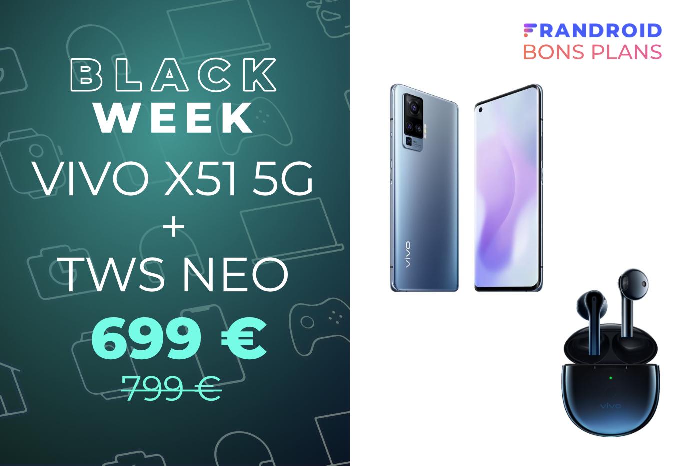 Le Vivo X51 5G est à 699 € au lieu de 799 avec des écouteurs sans fil offerts