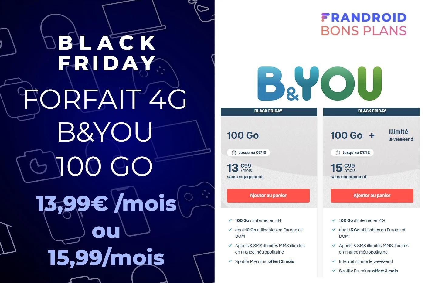 Black Friday B&You : forfait mobile 100 Go + illimité le week-end à 15,99 €/mois