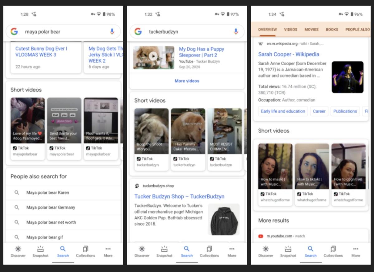 Google teste un carrousel de vidéos courtes issues d'Instagram et Tiktok