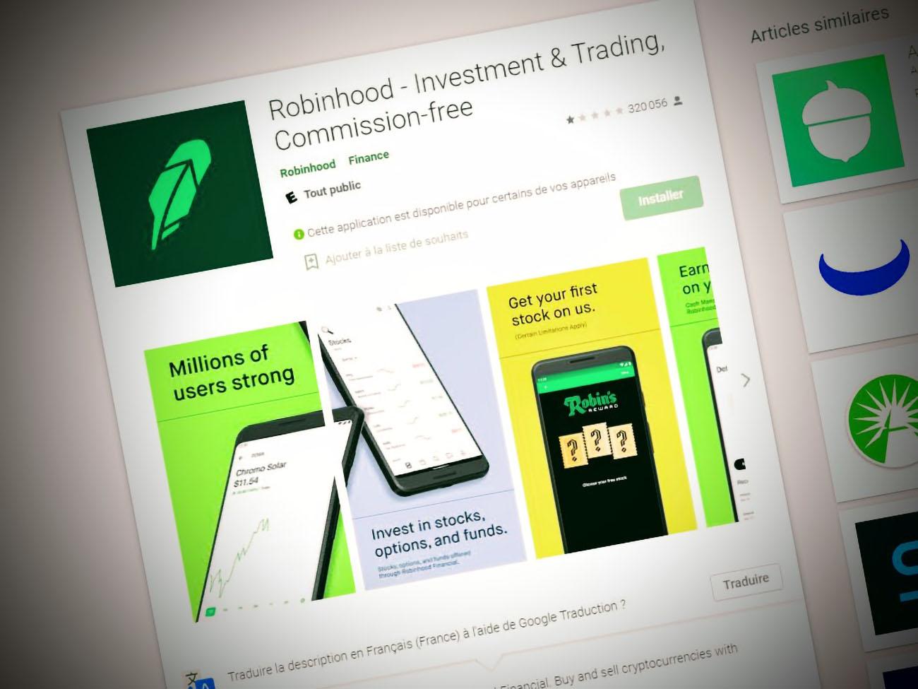 Après la polémique GameStop, l'application Robinhood coule à nouveau sur le Play Store