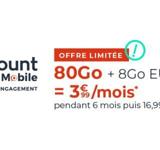 80 Go à 3,99 €/mois, c'est ce que propose ce forfait mobile sans engagement