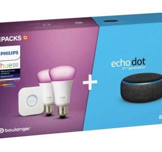 Pack maison connectée : Echo Dot + ampoules Philips Hue à seulement 85 €