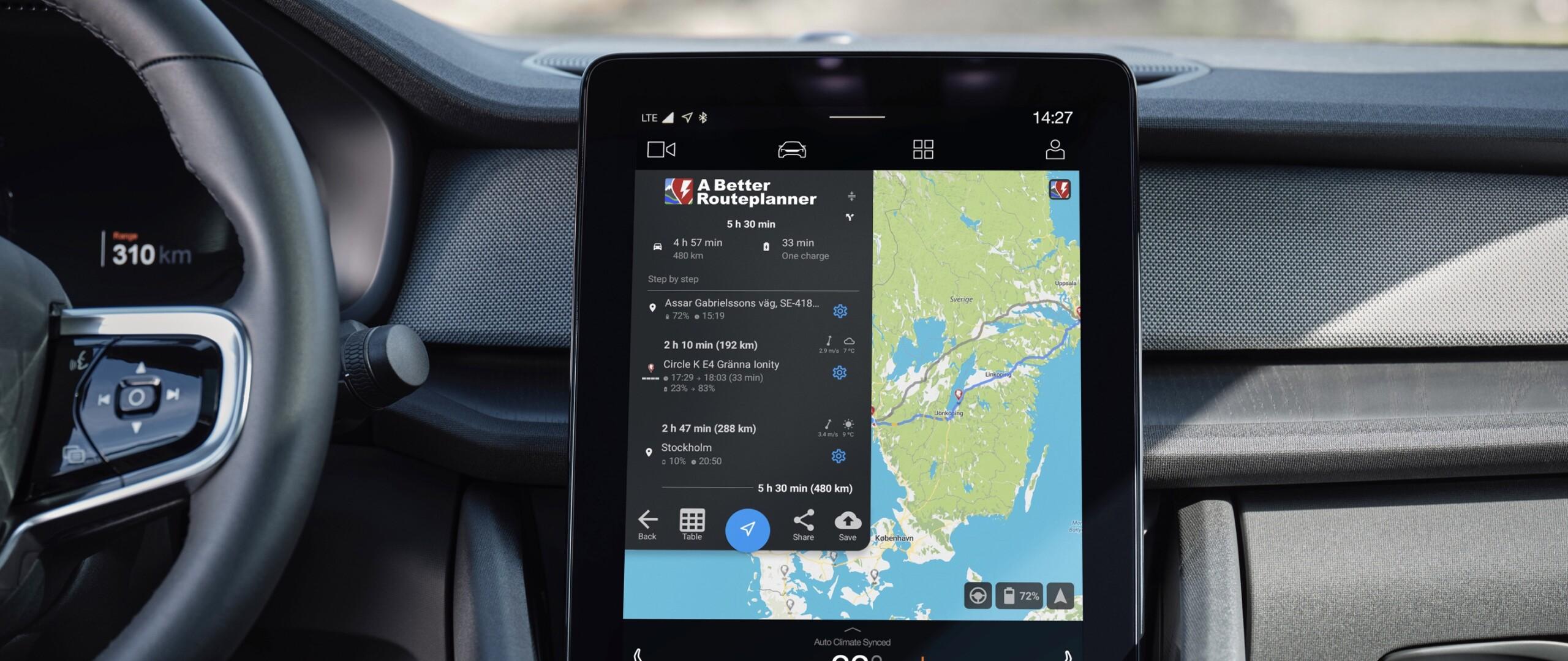 La Polestar 2 accueille nativement le service A Better Route Planner
