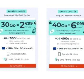 Forfait mobile : de 30 à 40 Go de 4G à partir de seulement 2,99 €/mois