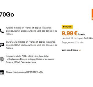 Orange est encore là avec son forfait mobile 70 Go à seulement 9,99 €/mois