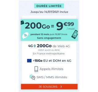 Vous ne serez jamais à court de data avec ce forfait 200 Go à 9,99 €/mois