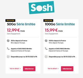 En ce moment chez Sosh, c'est entre 50 et 100 Go à partir de 12,99 €/mois pour ses forfaits 4G