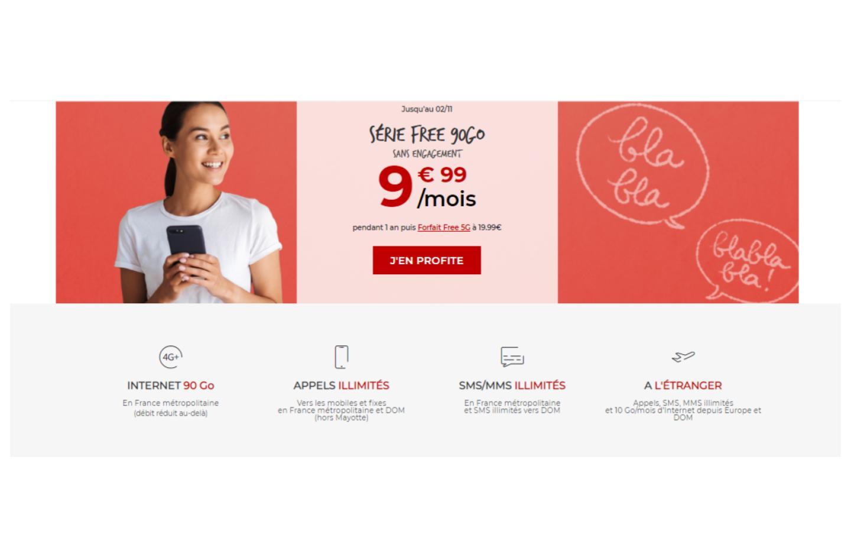 Free revient dans la course au forfait pas cher : 90 Go à moins de 10€/mois