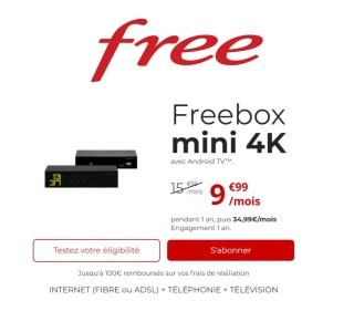 Free : la fibre 1 Gb/s est à moins de 10 € avec l'offre Freebox Mini 4K