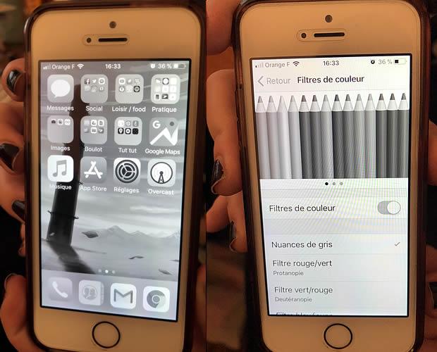 À droite : l'écran «filtre de couleurs» / à gauche: l'écran noir et blanc de l'iPhone de Mymy