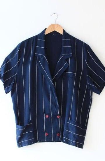 Veste bleu marine à rayures, Shop Look Vintage, 29€