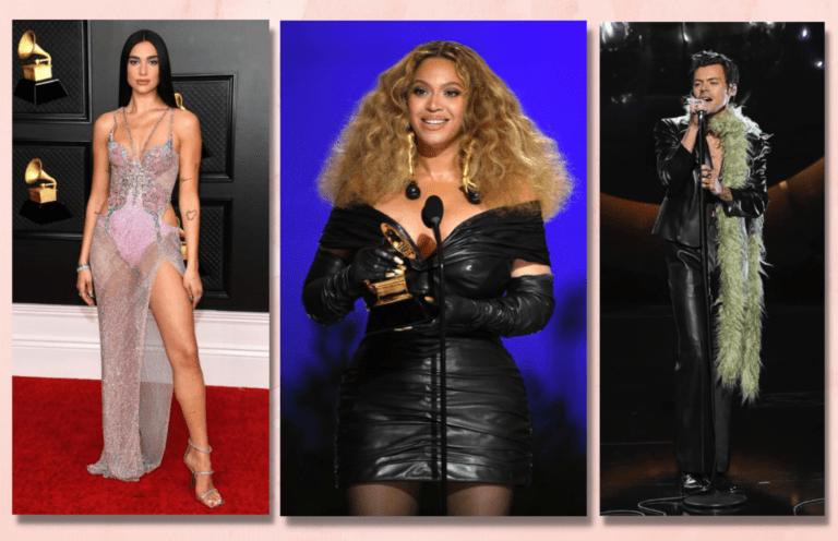 Les artistes Dua Lipa, Beyoncé et Harry Styles à la cérémonie des Grammys Awards 2021