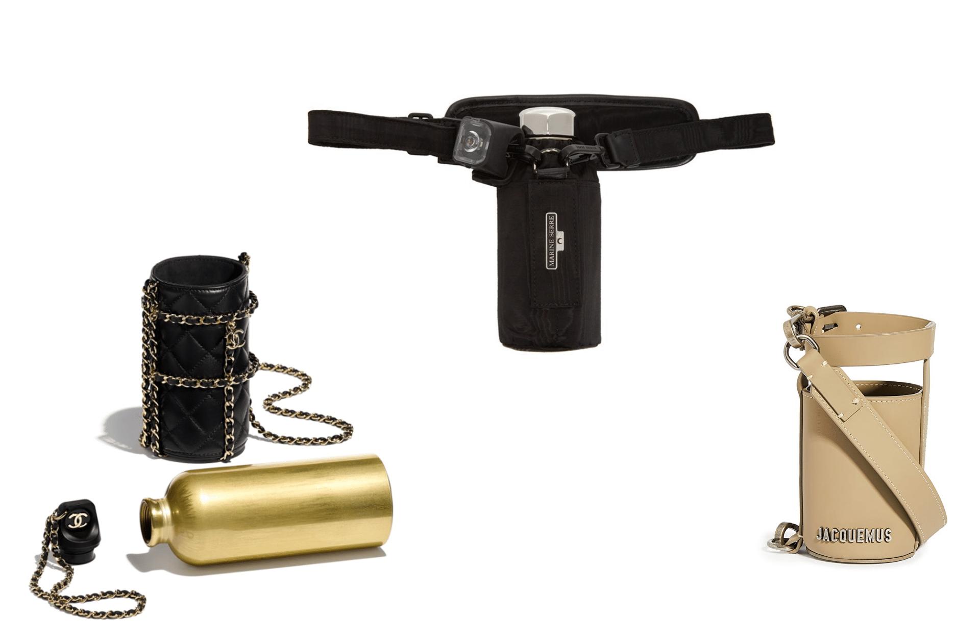 Chanel, Marine Serre et Jacquemus proposent des gourdes et/ou porrte-gourdes de luxe