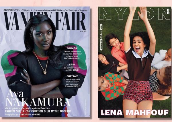 Aya Nakamura en couverture de Vanity Fair France et Léna Mahfouf en Une de Nylon France