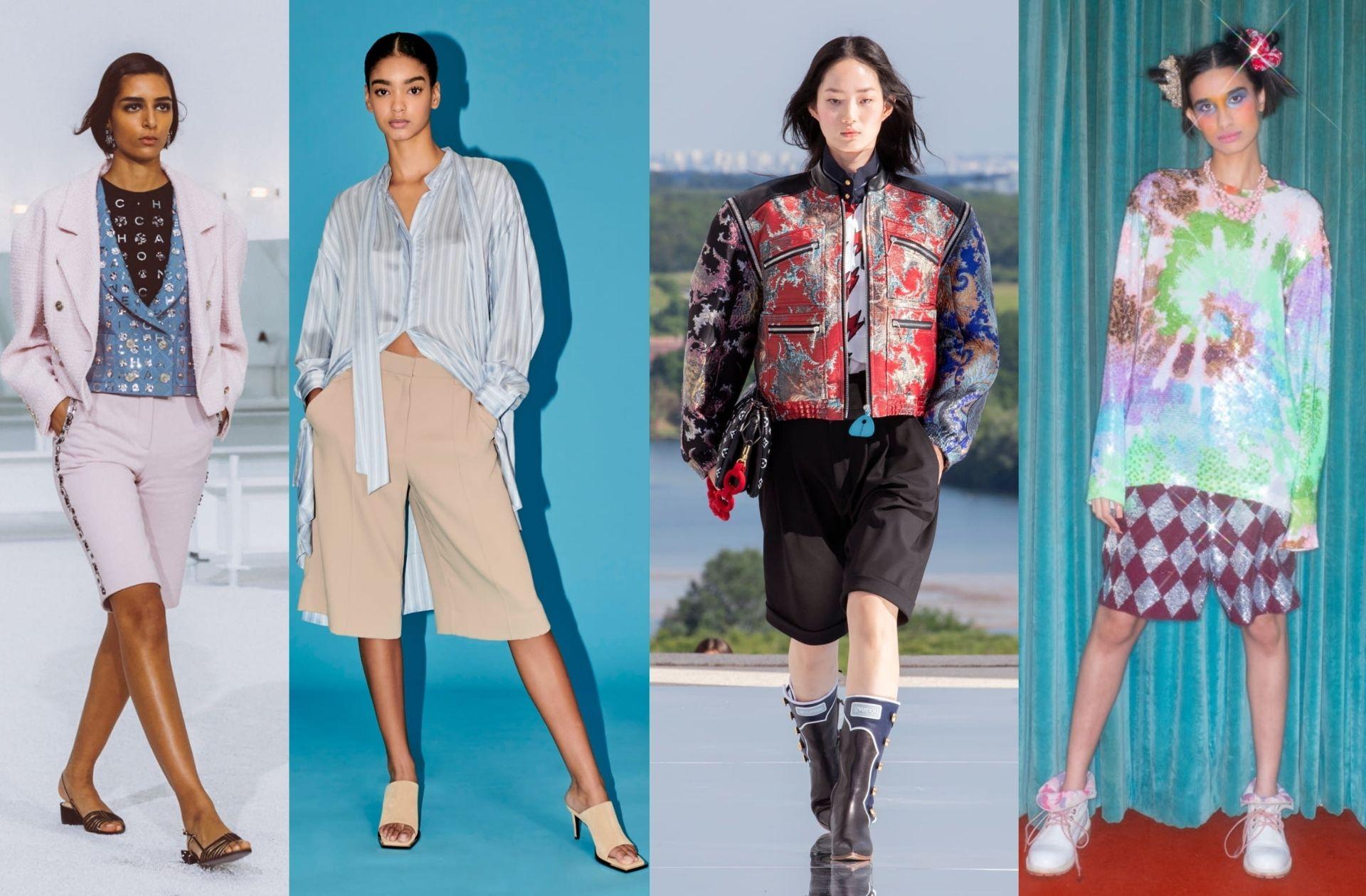 De gauche à droite : Chanel printemps-été 2021 ; Barbara Bui printemps-été 2021 ; Louis Vuitton Resort 2022 ; Ashish automne-hiver 2021-2022