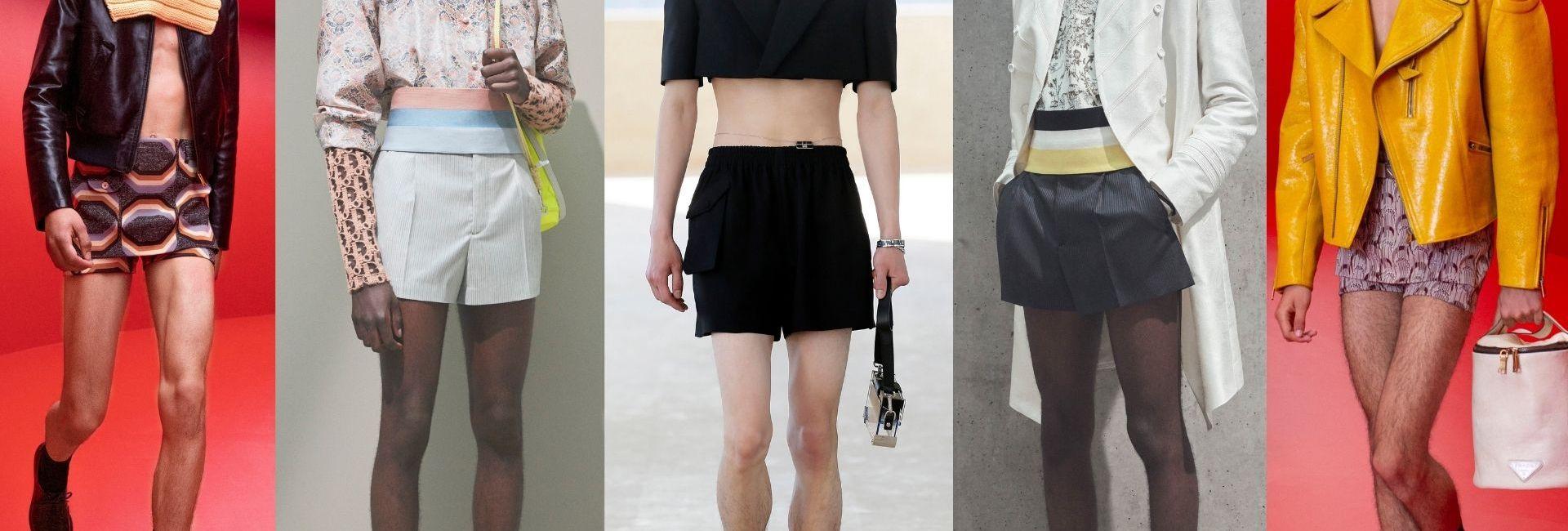 Les mini-shorts sur les podiums homme de gauche à droite : Prada printemps-été 2022, Dior PE 2021, Fendi PE 2022, Dior PE 2021, Prada PE 2022.