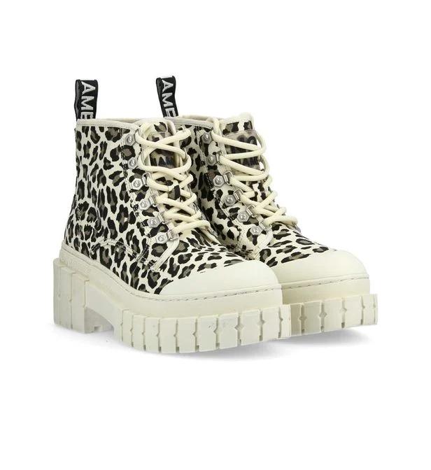 Bottines en coton imprimé léopard, No Name